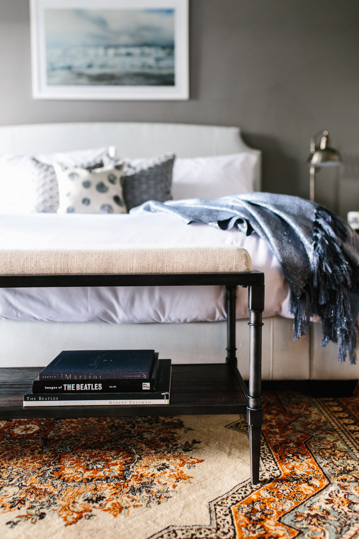Amazing Sources Nightstands u Vintage Craigslist Wall Color u Sherwin Williams Cityscape Ceiling Color u Sherwin Williams Atmospheric Bedside lamps