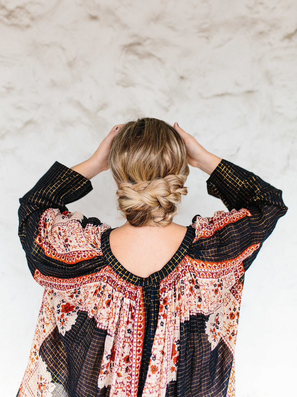 The back of a braided updo