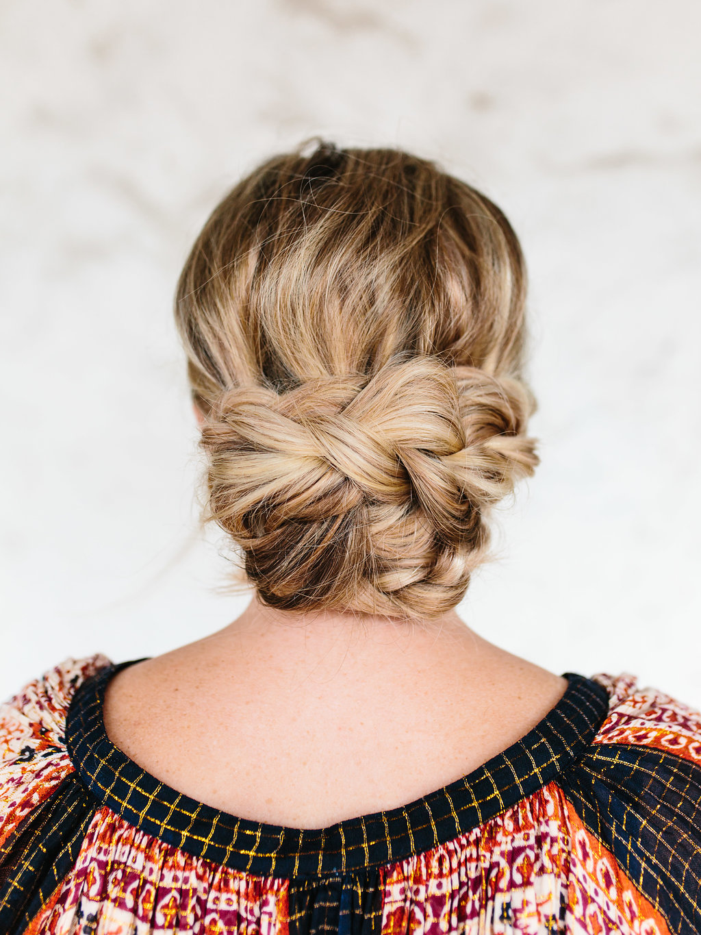 Close up of the finished braided updo
