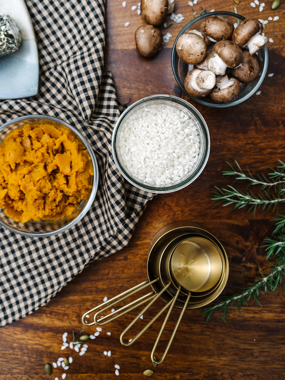 Ingredients to make the pumpkin risotto