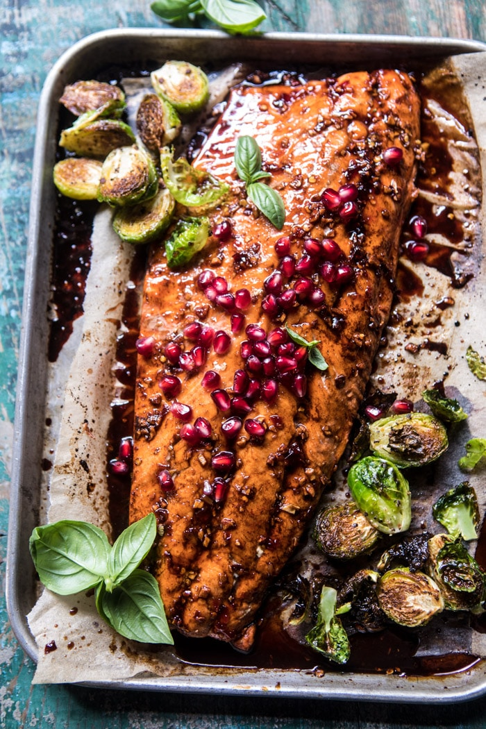 Baked salmon with pomegranate seeds