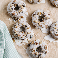 carrot cake donuts with goat cheese glaze