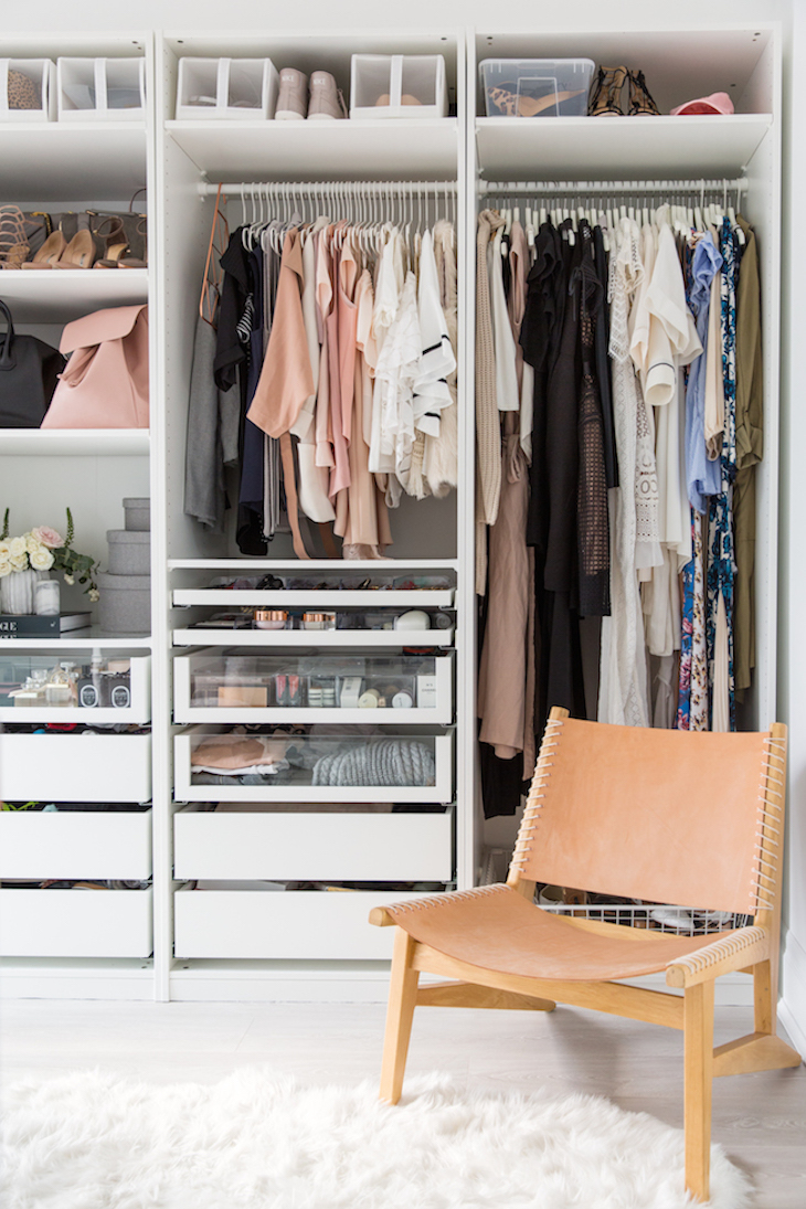 An organised wardrobe