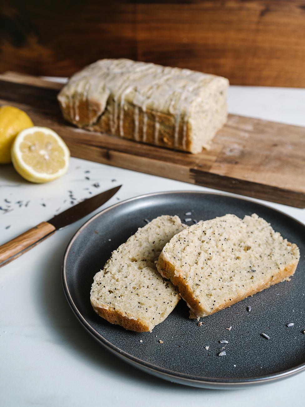 poppy seed bread on plate