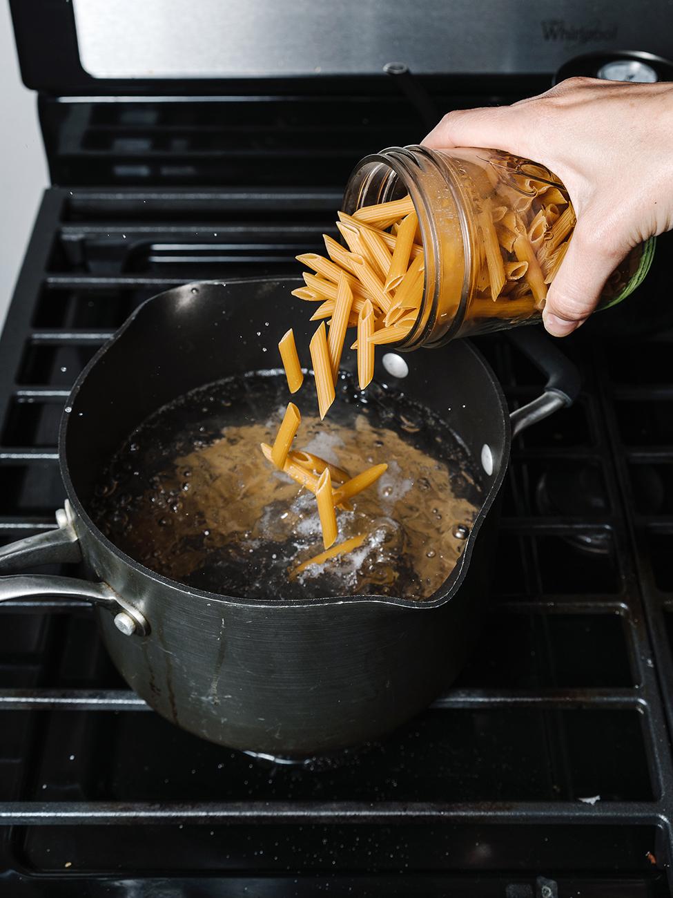 gluten free pasta in pot