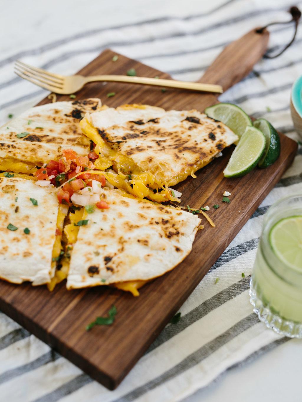 close up of quesadillas recipe