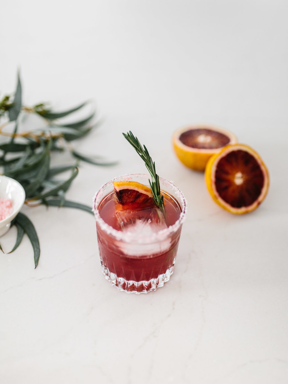 glass of blood orange margarita