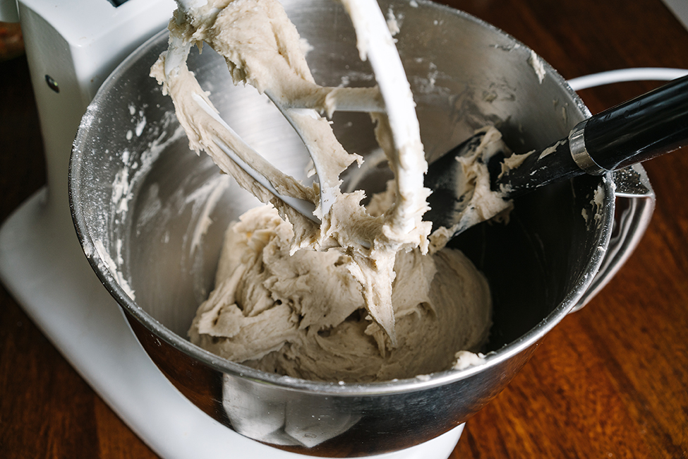 gluten free bread dough in a mixer