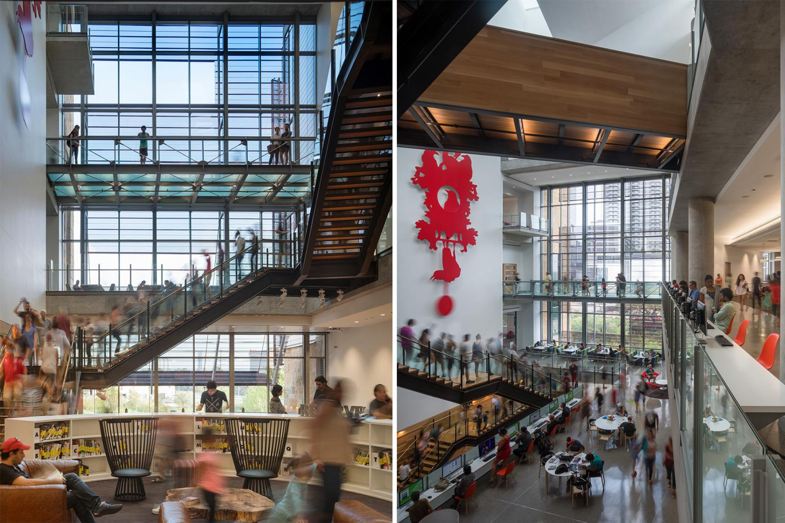 Two shots of austin library interior