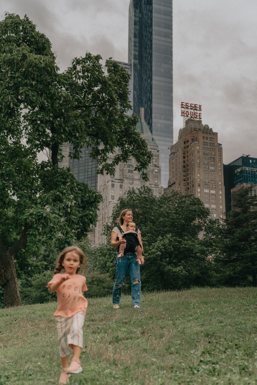 Walking with kids through a new york city park