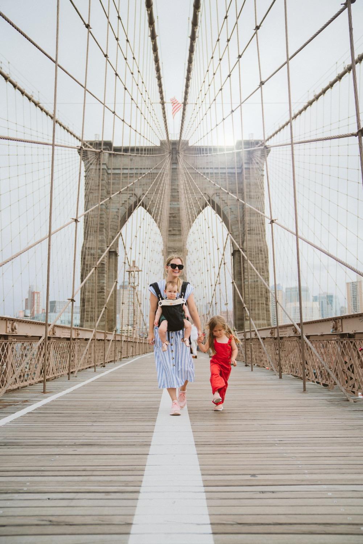 Walking across New York City bridge with kids