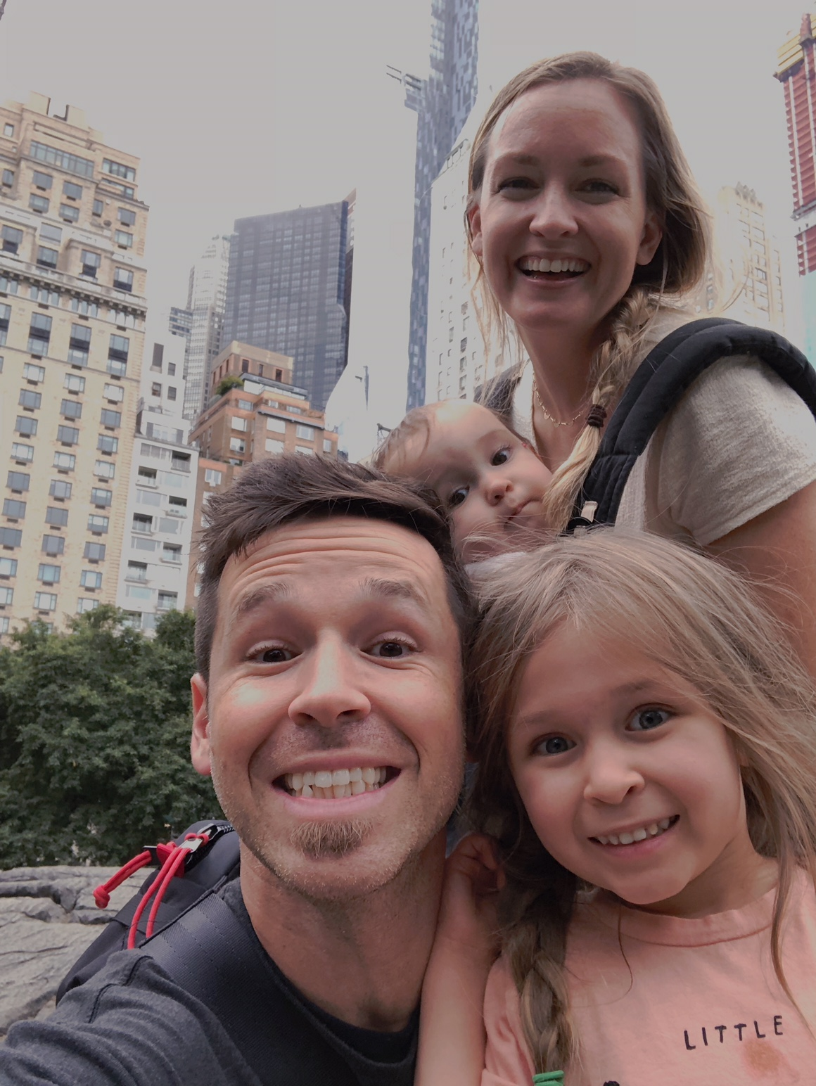 Family selfie with kids in new york city