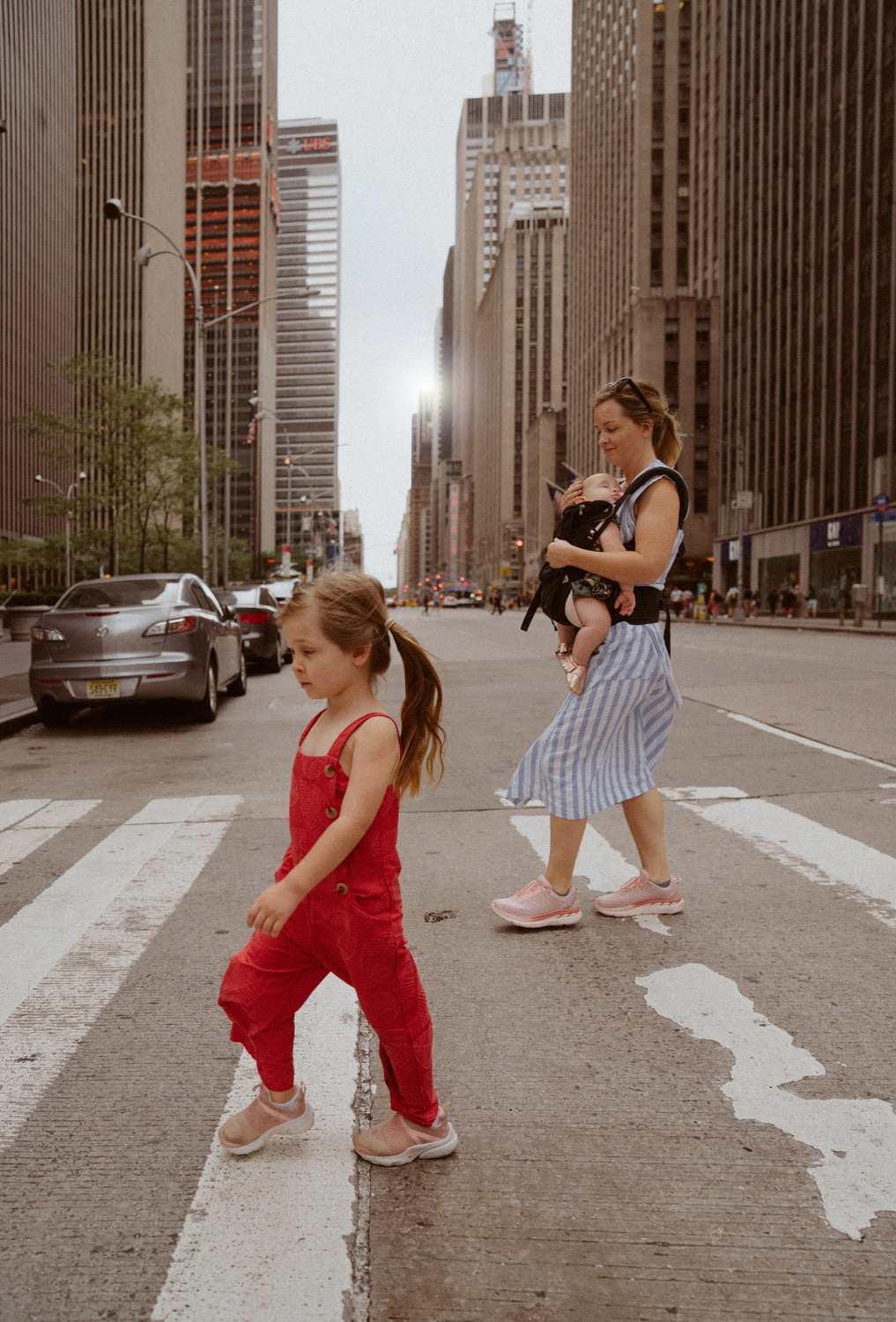 crossing a road in new york city with kids