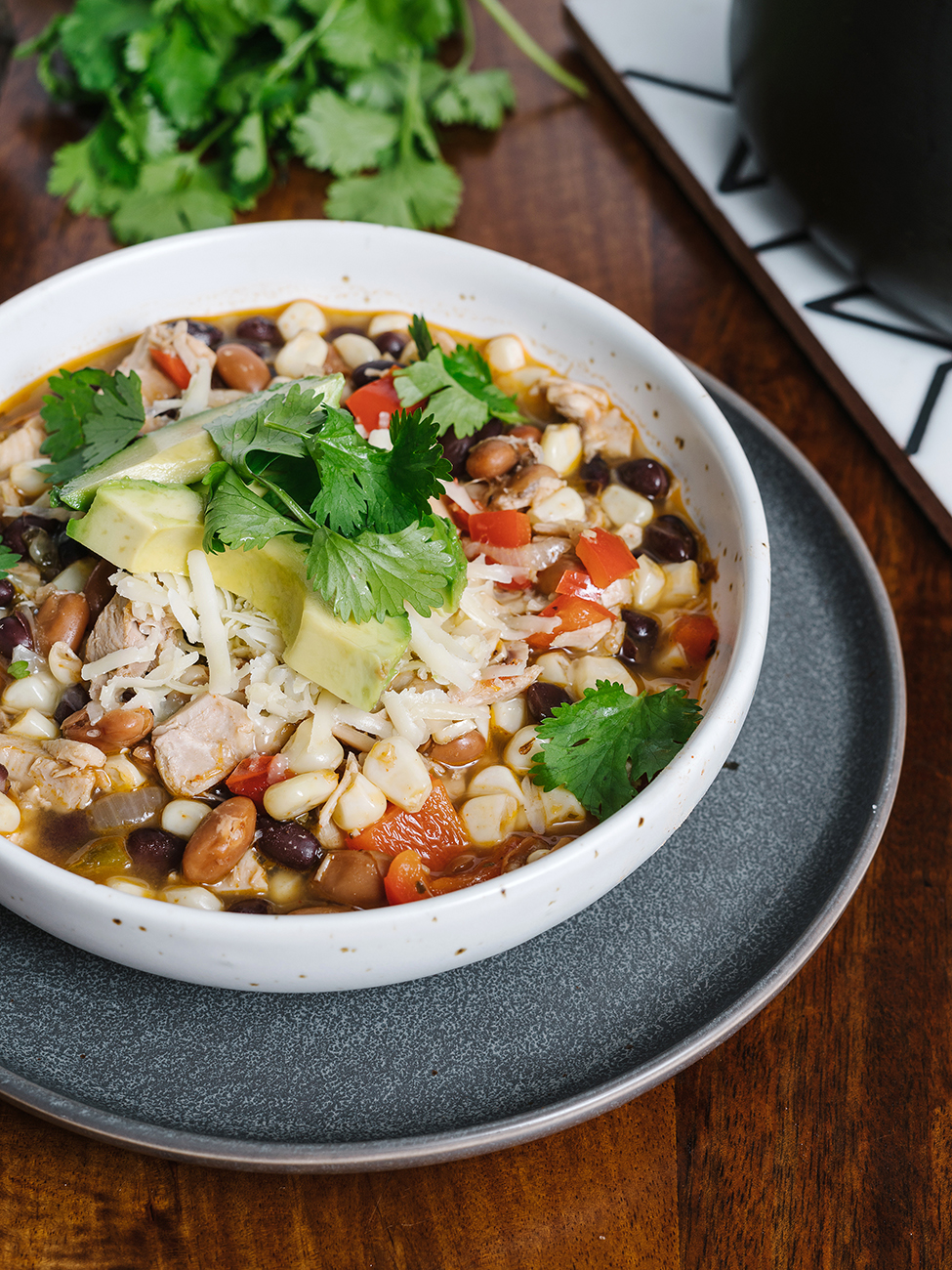 Easy Chicken Chili served in a white bowl