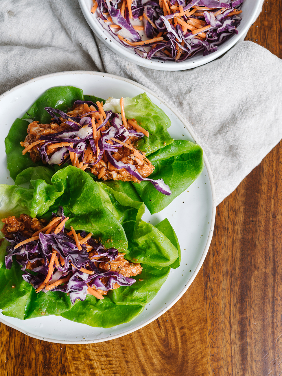 bbq pulled chicken on lettuce wraps