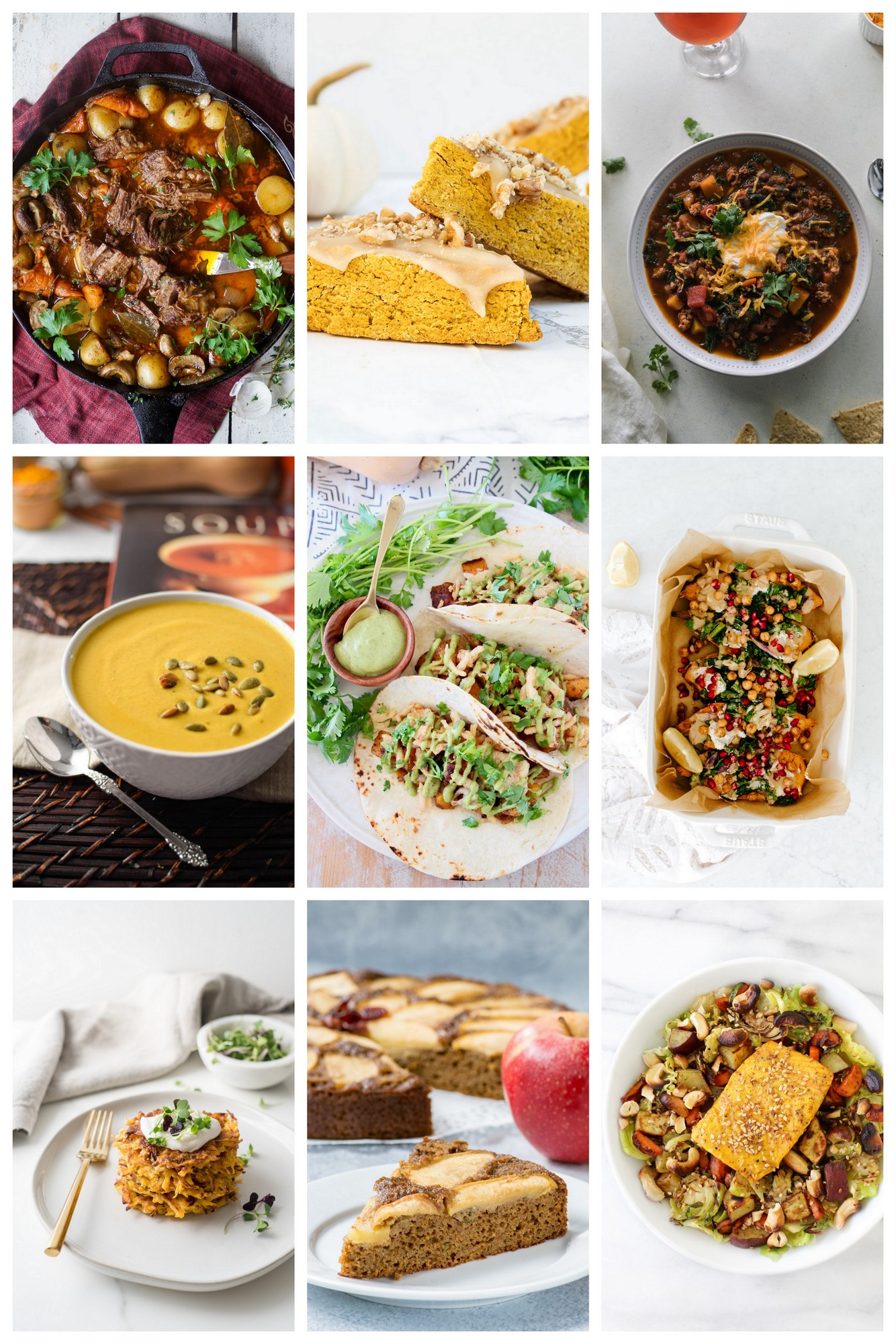 A collage of nine fall recipes