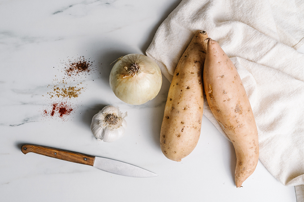 ingredients for stuffed sweet potatoes