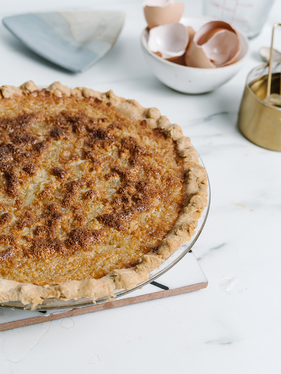 Buttermilk pie on a marble worksurface