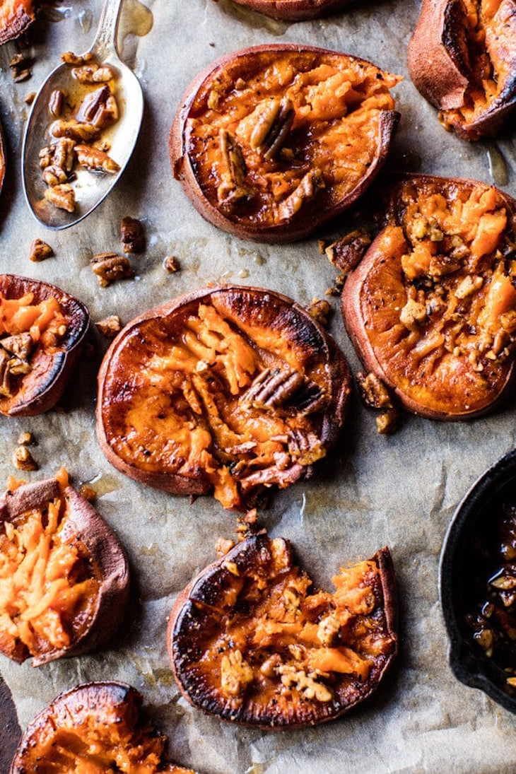roasted sweet potatoes on parchment