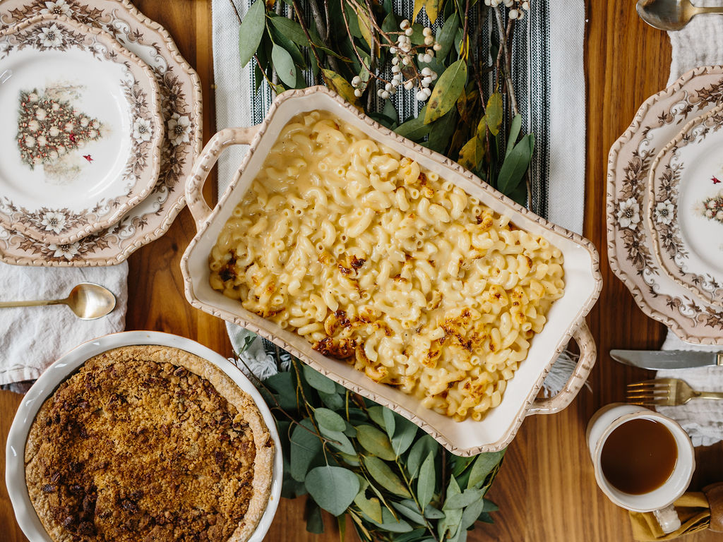 Side dishes on a friendsgiving table