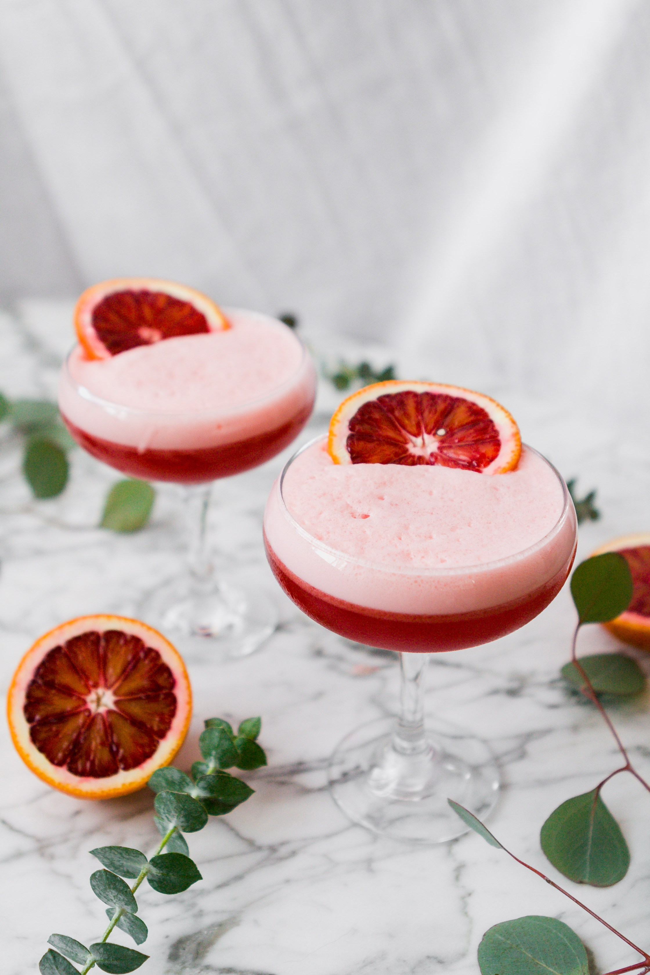 New Year's Eve Cocktails Blood Orange and Ginger Boston Sour