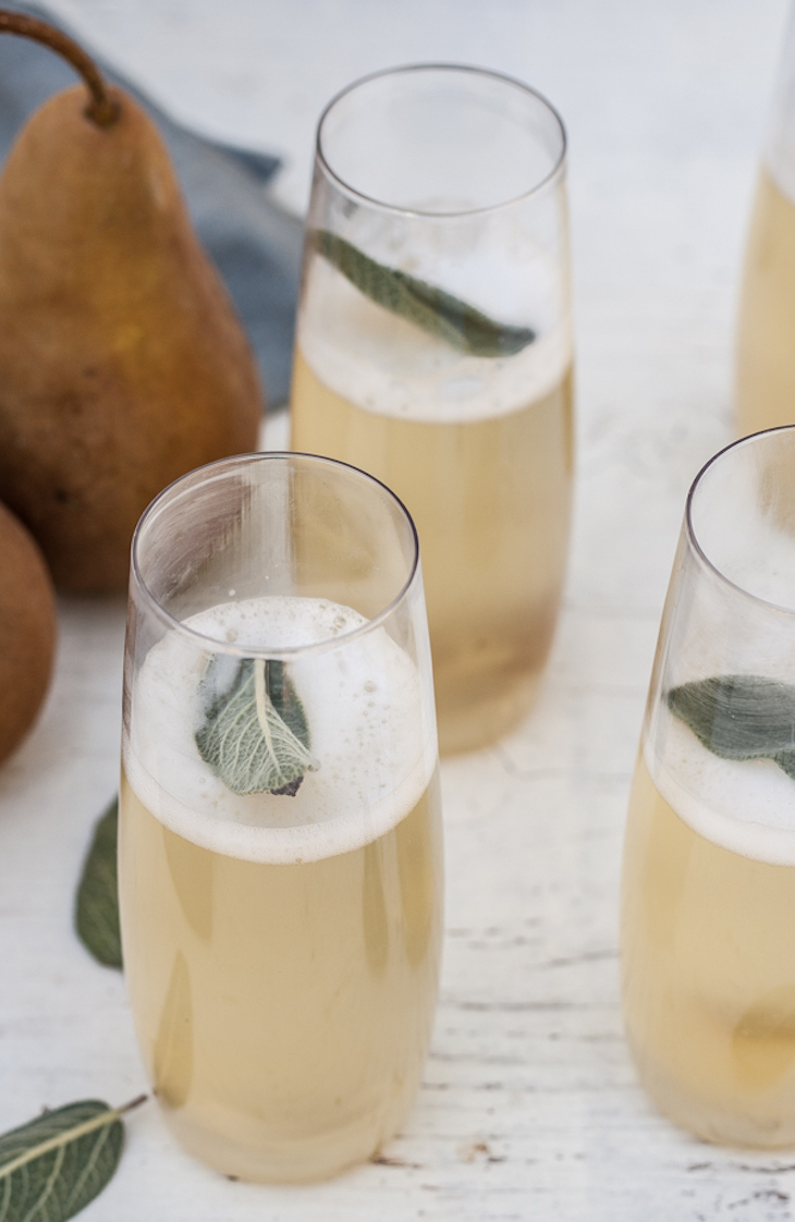 Pear & Ginger Champagne New Year's Eve Cocktails