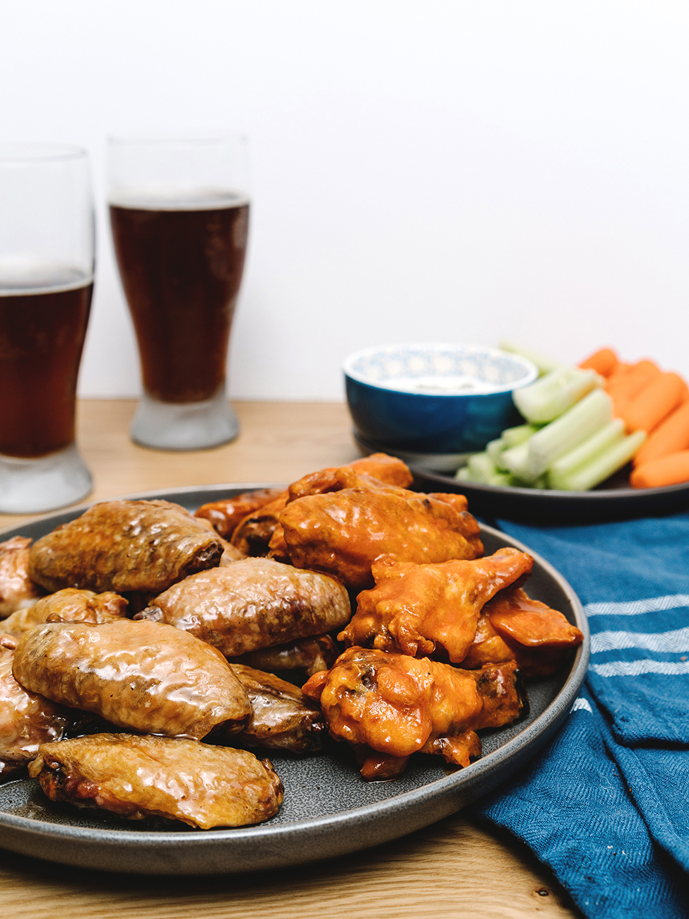 healthy chicken wings served on a plate for super bowl