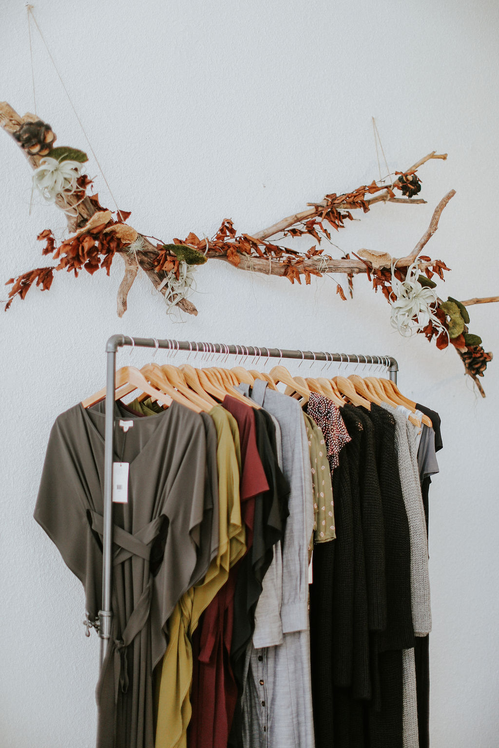 rack of clothing in raven and lily