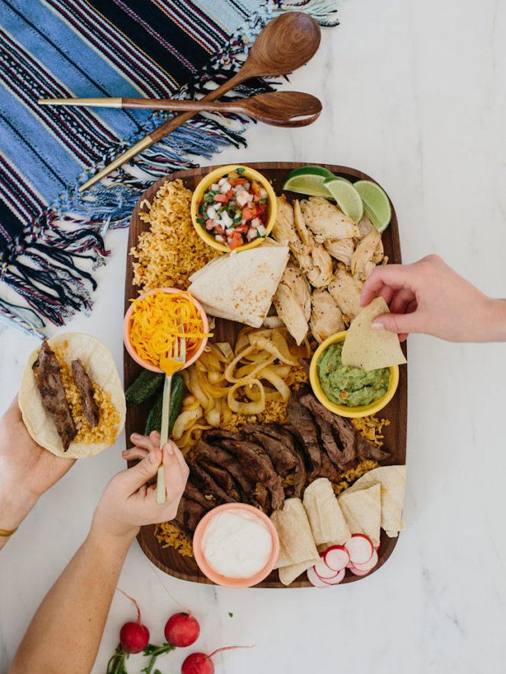 A large platter of food