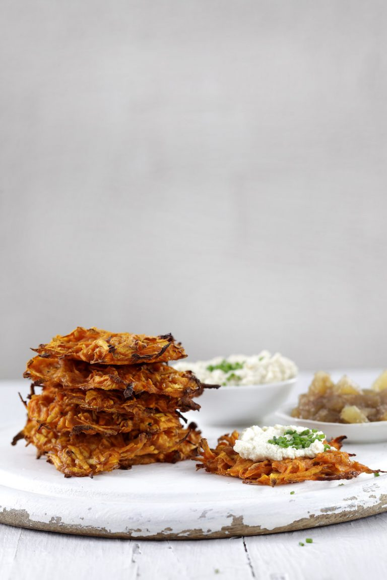 Healthy potato latkes stacked on top of each other