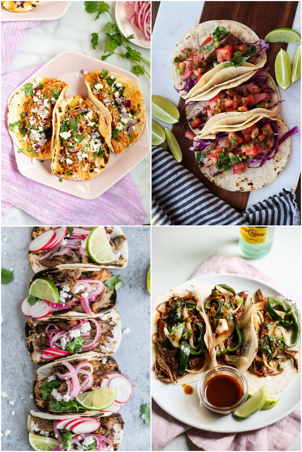 A collage of four taco recipes