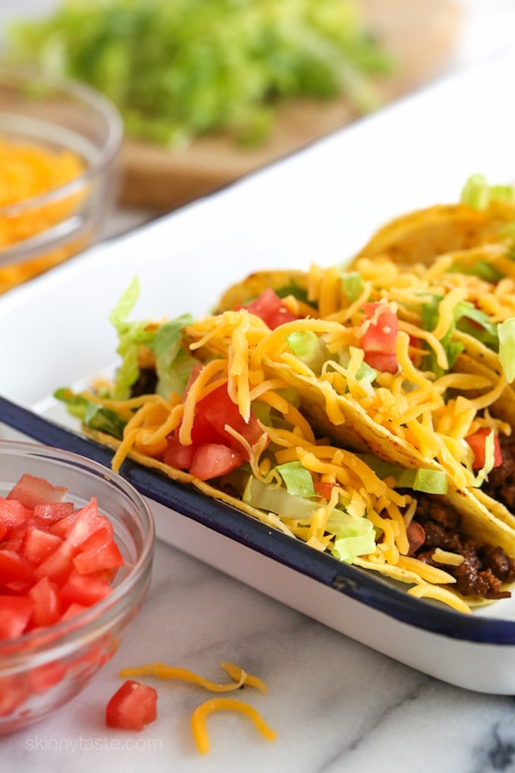 Ground beef taco in a white tray
