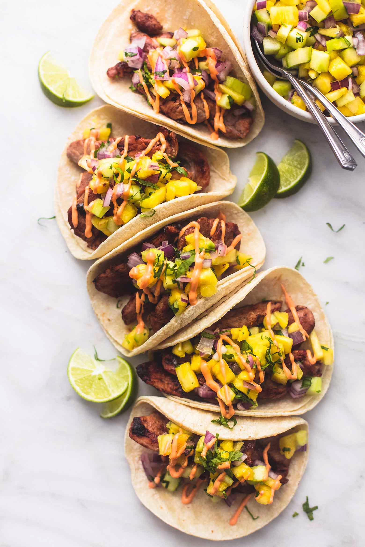 Pork tacos with salsa