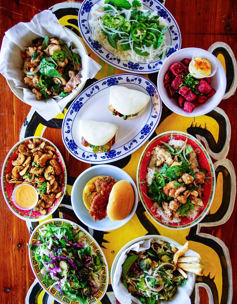 Top shot of plates of food on a table