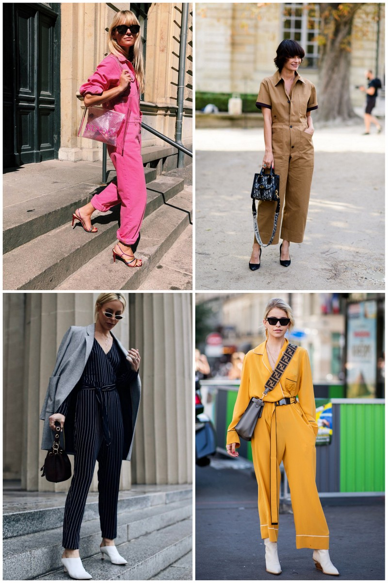 Collage of 4 women wearing jumpsuits
