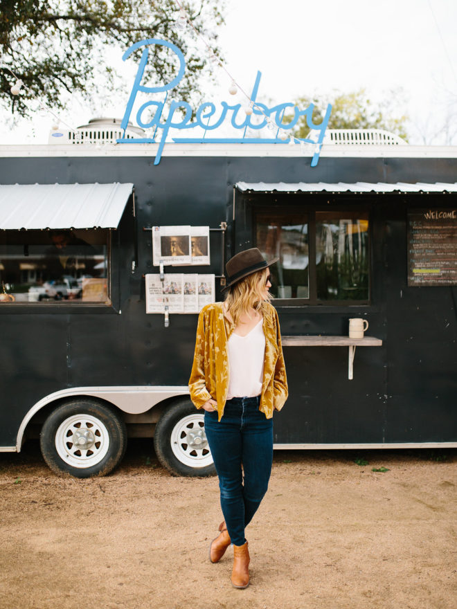 Woman in front of a food truck in Austin