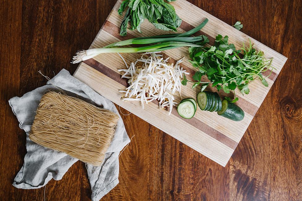 Ingredients to make a noodle bowl