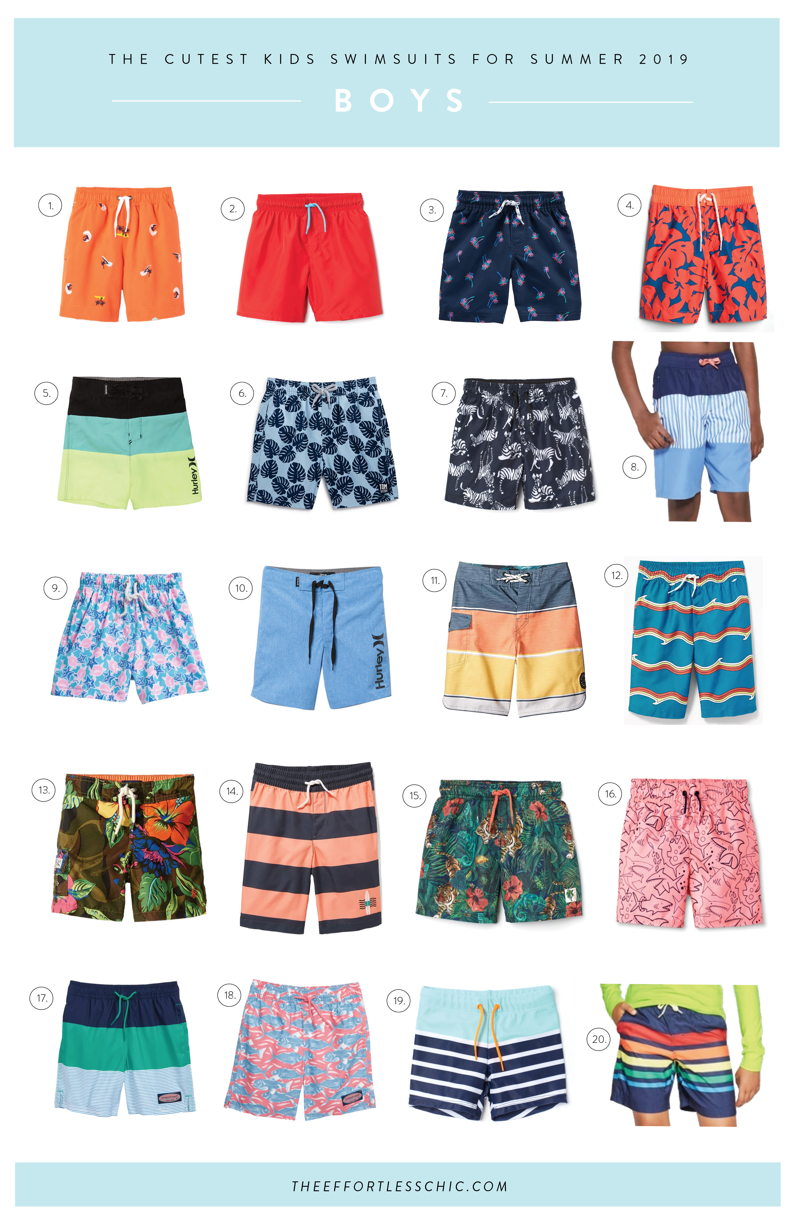 A collage of Kids Beachwear - boy's trunks