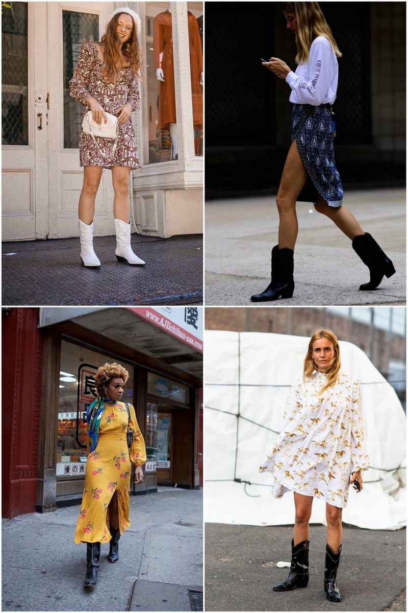 Collage of models wearing cowboy boots