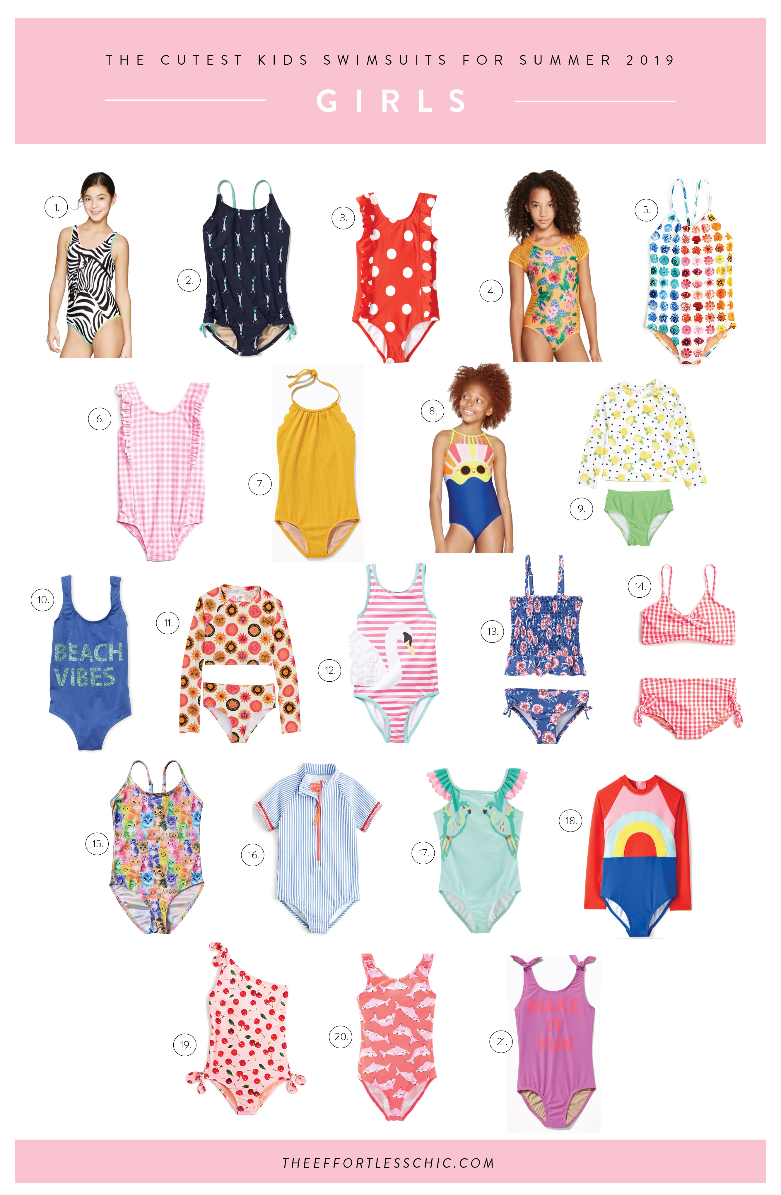 A collage of Kids Beachwear - girls swimsuits