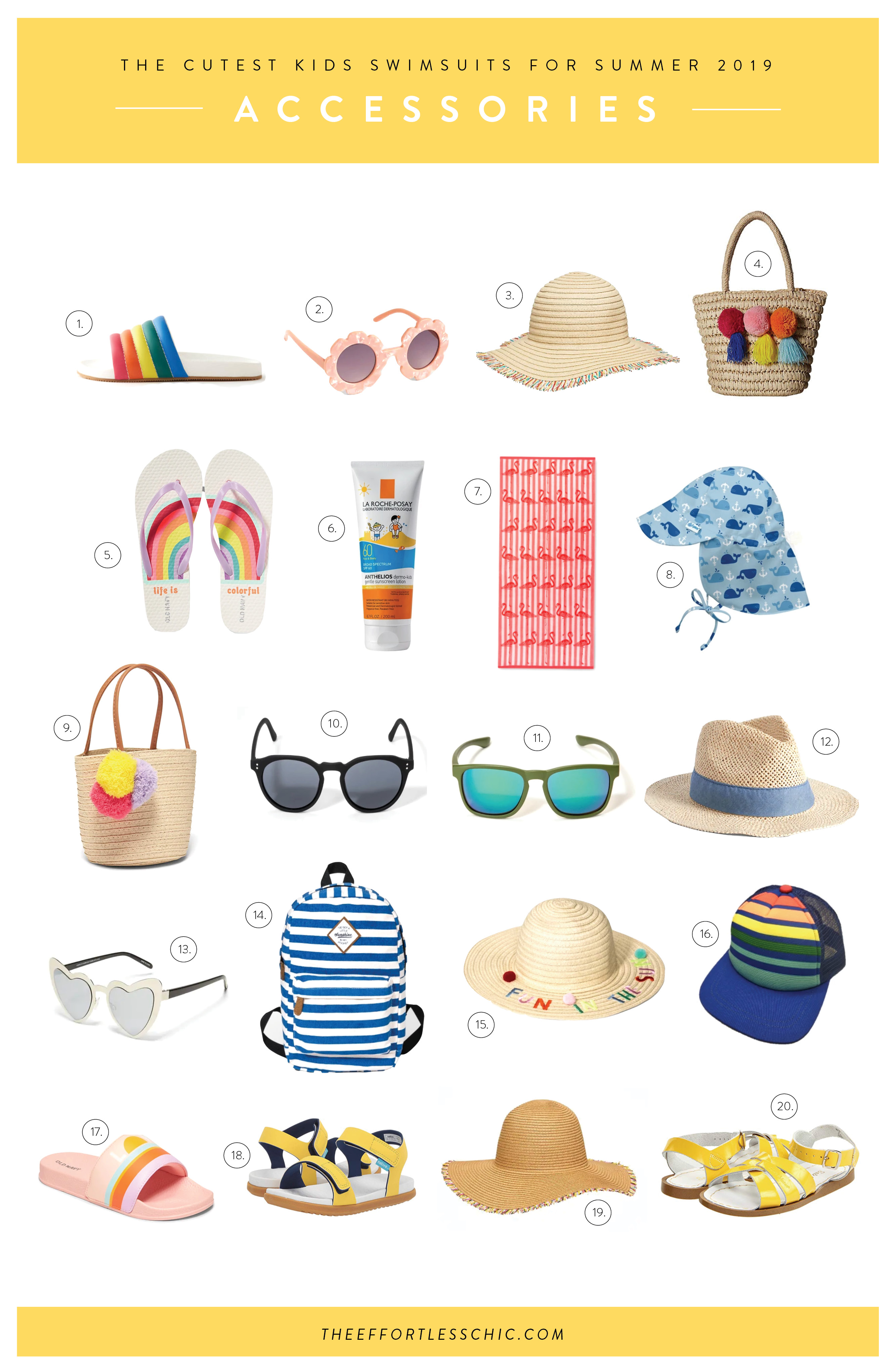 Kids Beachwear accessories in a collage
