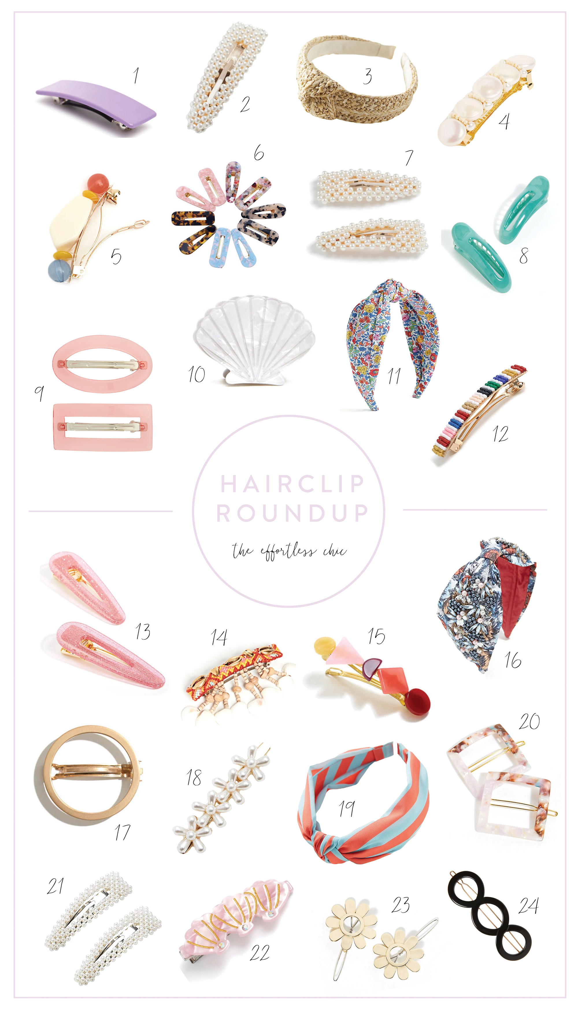 collage of fashionable hair clips