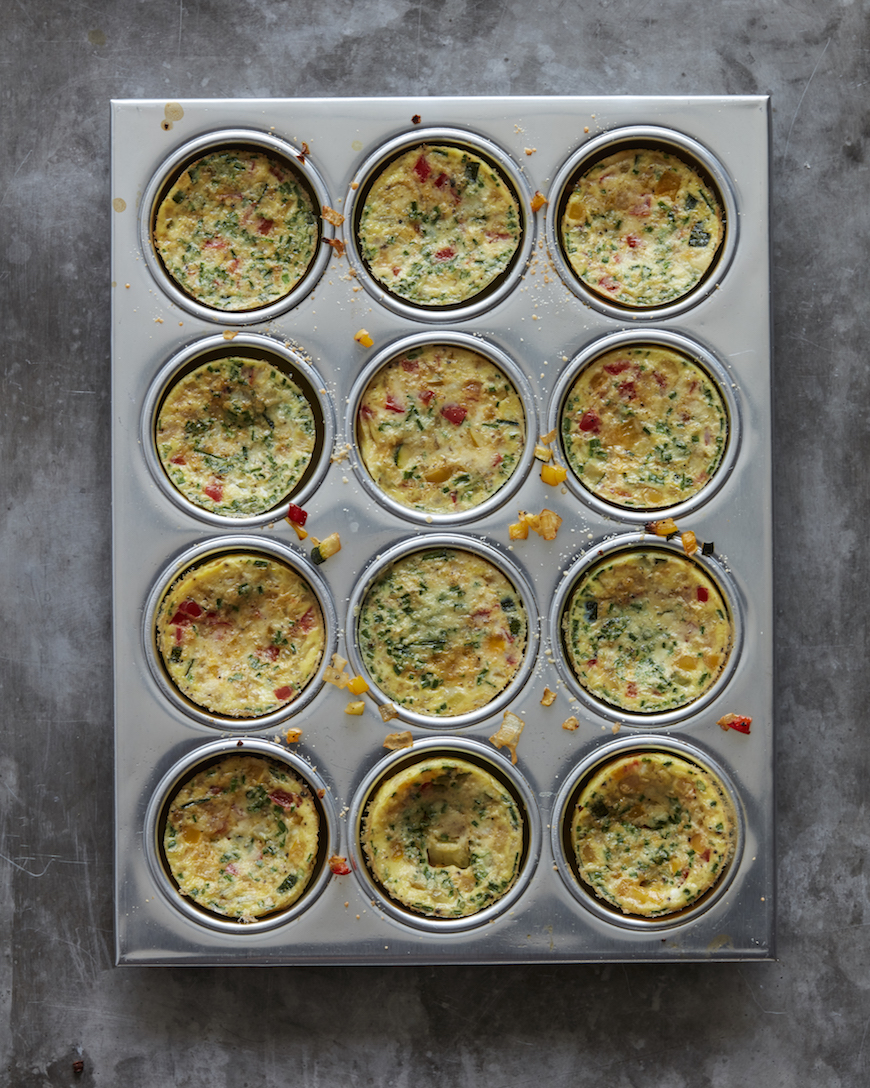 mini frittatas in a muffin tin