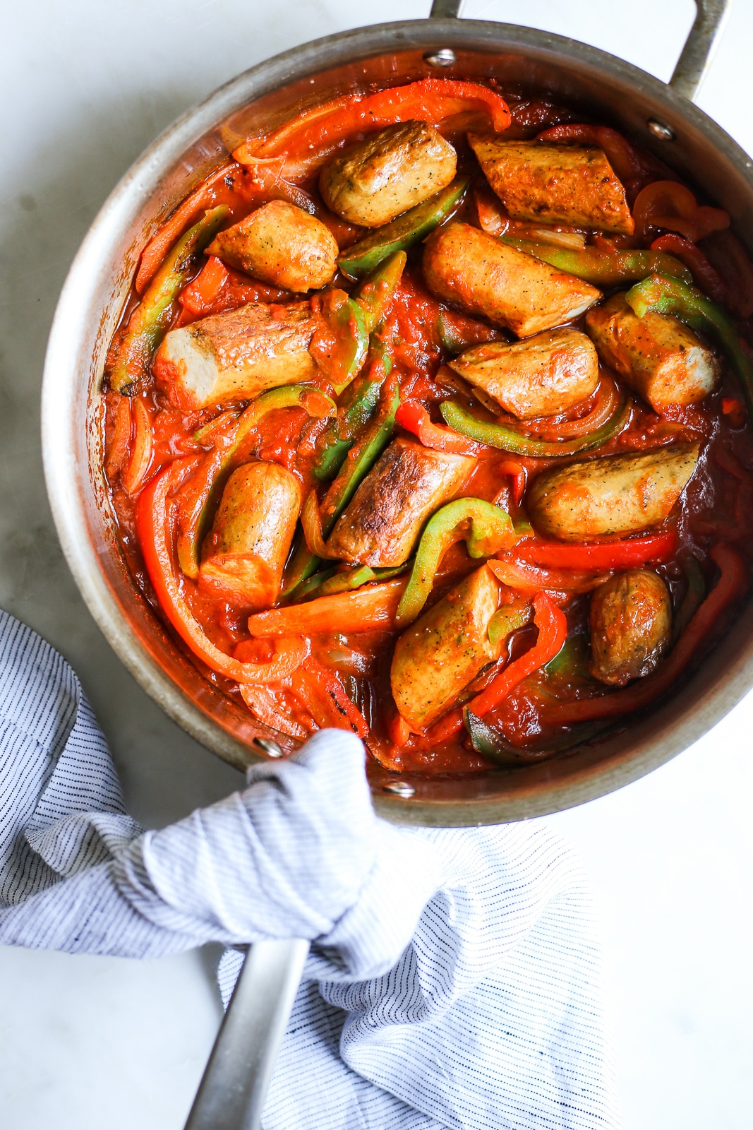 A red meal in a skillet