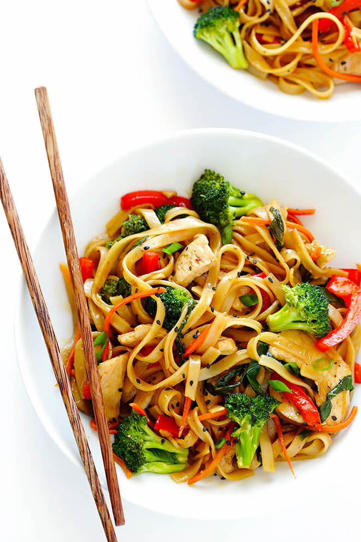 Stir fry served in a white bowl for an easy weeknight meal