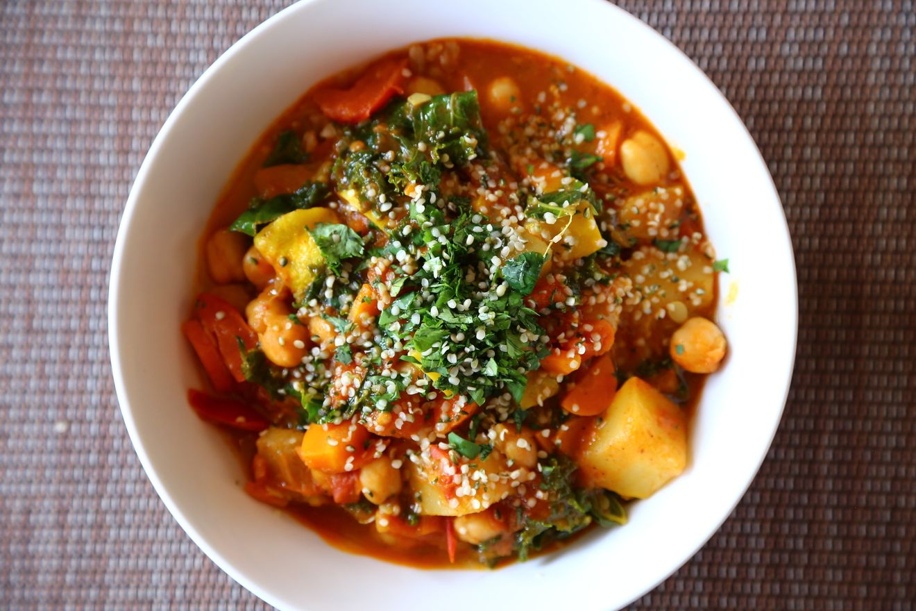 Vegetable curry served in a bowl for a weeknight meal idea