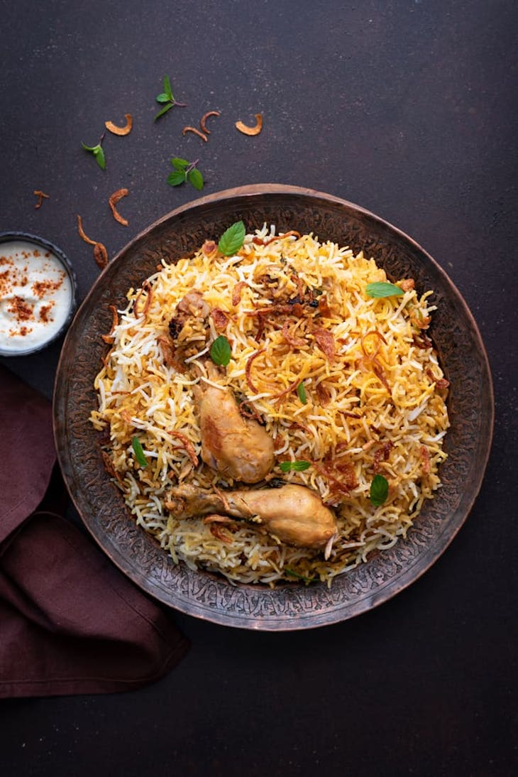 Chicken and rice on a plate