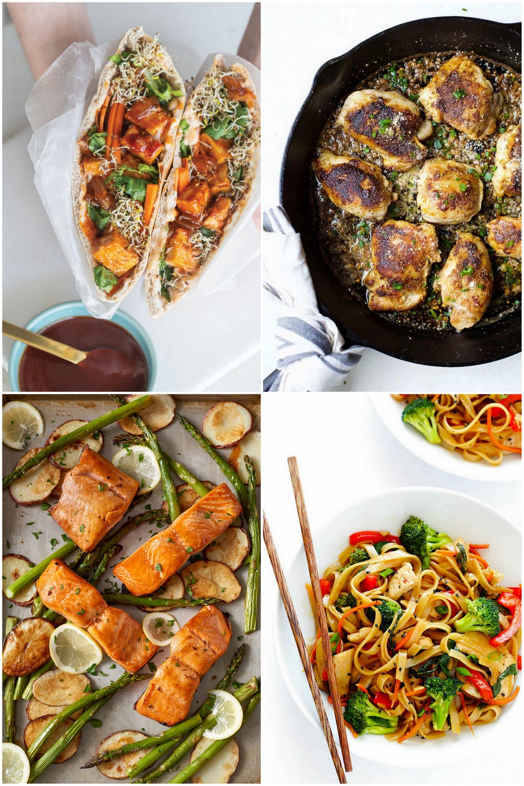 Collage of four Weeknight Meal Ideas