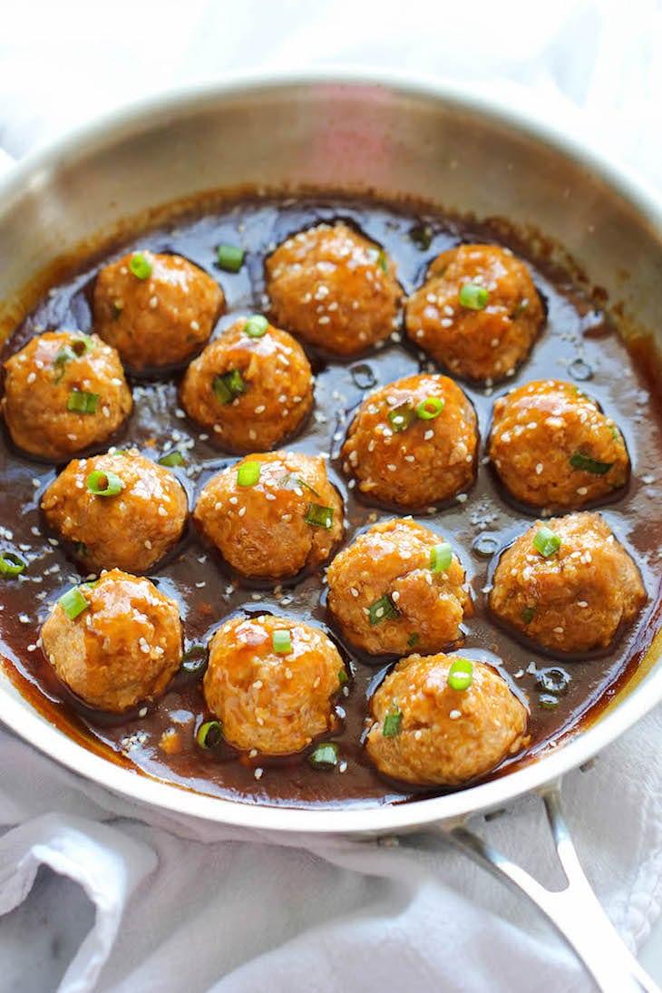 Meatballs in a skillet