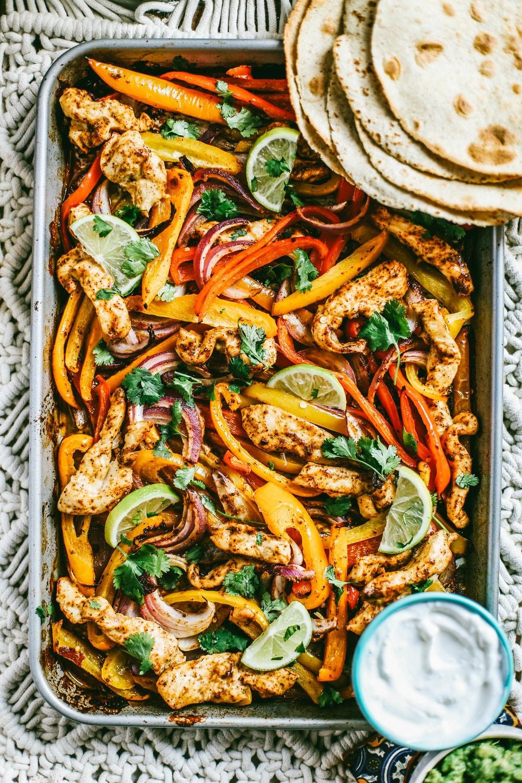 Chicken fajitas on a sheet pan